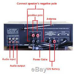 110V 2000 Watts 2 Channel Pro bluetooth Power Amplifier AMP Stereo Audio USB SD