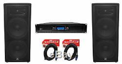 (2) JBL Pro JRX225 2000 Watt Dual 15 DJ PA Speakers+Power Amplifier+Cables