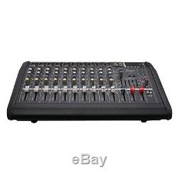 2000Watts 10 Channel Professional Powered Mixer Power Mixing Amplifier Amp os12