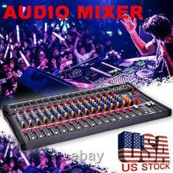 8/12/16 Channel Live Studio Professional Audio Mixer Power Mixing Amplifier US
