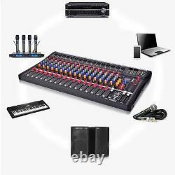 8/12/16 Channel Professional Live Studio Audio Mixer Power Mixing Amplifier US
