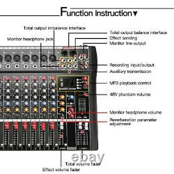 8 12 Channel Professional Powered Mixer Power Mixing Amplifier Amp USB Bluetooth