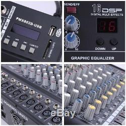 8 Channel Professional Powered Mixer power mixing Amplifier Amp 16DSP