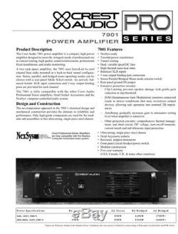 Crest Pro 7001 Stereo Power Amplifier New In Box 120V 1600 W RMS Bridged