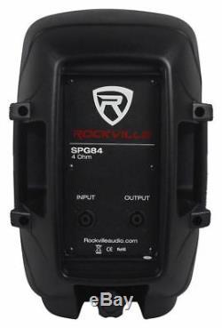 Pair Rockville SPG84 8 DJ PA Speakers+Pro Power Amplifier+Stands+Cables+Bag