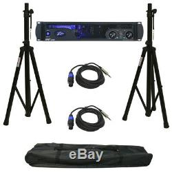 Peavey Ipr2 7500 Pro Audio Speaker Amplifier Amp Stands & Speakon To 1/4 Cables