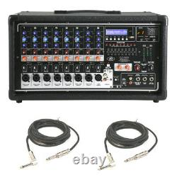 Peavey Pvi 8500 Pro Audio 8 Channel Powered 400W Mixer (2) 1/4 Speaker Cables