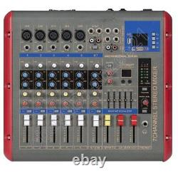 Pro 1200W Power Amplifier 7 Channel Audio Mixer Mixing Console Bluetooth USB DSP