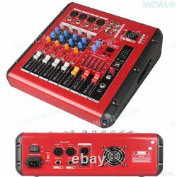 Pro 4 Way 800W Amplifier Microphone Mixing Console Sound Power Mixer USB 48V BT