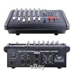 Pro 6 Channel Powered Audio Mixer power mixing Amplifier Amp 16DSP with USB Slot