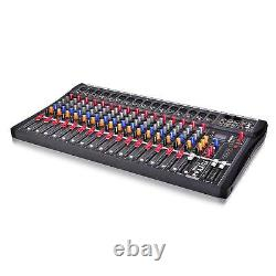 Professional 16 Channel Live Studio Audio Mixer Power Mixing Amplifier USA