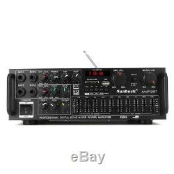 Professional 2000W 220V Power Amplifier bluetooth Stereo Mixer Echo Mic AMP