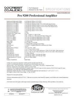 Rack Mount Crest Audio PRO 9200 Professional Power Amplifier #2731