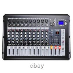 10 Channel Professional Dj Power Mixer Usb System Amp Amplificateur Amp 16dsp LCD Record