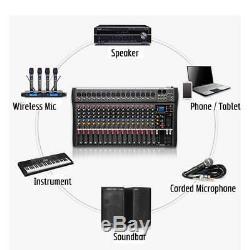 16 Canaux Powered Mixer Professional Puissance Mixage Amplificateur Amp Sk16