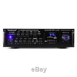 2000w Pro Bluetooth Hifi Amplificateur Surround Stéréo Amp Karaoké Fm Usb Sd