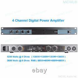 5200 Watts Classe D 1u Digital Power Amplificateur 4 Channel Professional Dj Stage