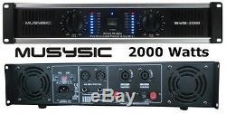 Amplificateur De Puissance Dj Professionnel 2 Canaux 2000w Musysic, Amplificateur Stéréo, Montage Sur Rack 2u