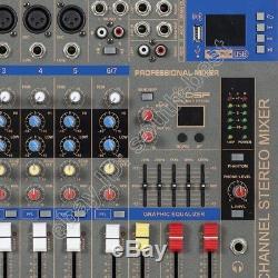 Console De Mixage Pro 5 Canaux 1600 Watts Amplificateur 2 En 1 + Console De Mixage