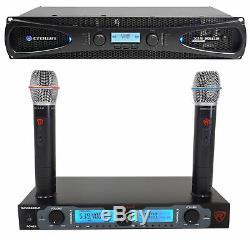 Couronne Pro Xls2502 Xls 2502 2400w Dj / Pa Amplificateur De Puissance Withdsp + Double Sans Fil Mics