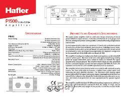 Hafler P1500 Trans-nova Amplificateur De Puissance Professionnel