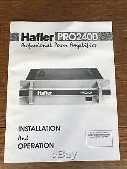 Hafler Pro2400 Amplificateur De Puissance Professionnel