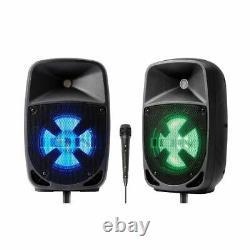 Ion Pro Glow Duo 8 Compact Haute Puissance 300w Pa Haut-parleur Bluetooth Bi-amplified