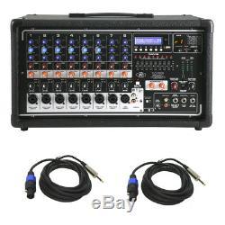 Peavey Pvi 8500 Pro Table De Mixage Électrique Amplifiée 400 W (2) (2) Câbles Speakon À 1/4 Haut-parleurs
