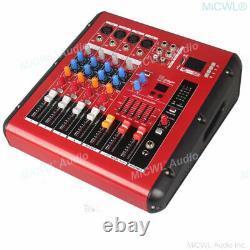 Pro 4 Way 800w Amplificateur Microphone Mixant Console Sound Power Mixer Usb 48v Bt