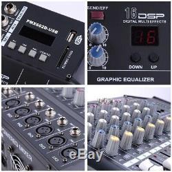Pro 6 Canaux Powered Puissance De Mixage Audio Mixer Amplificateur Amp 16dsp Avec Port Usb