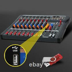 Pro 8 Canaux Audio Puissance Amplifiée Table De Mixage De Mixage Dj Amplificateur Amp Slot Usb Us Navire