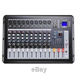 Pro Amplificateur Mélangeur De Puissance De Studio De Canaux Audio Actionné 10 Avec Préamplis De Micro