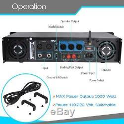 Pyle 1000w Amplificateur D'amplificateur De Puissance Professionnel Bluetooth Pro À 2 Canaux Bluetooth Pro