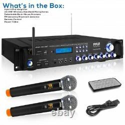 Pyle Pwma3003bt. Nouveau Récepteur Stéréo Multicanal Pro Audio Avec (2) Wireles Vhf