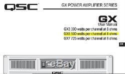 Qsc Gx5 Pro Power Amplifier Navires 2ru (500w Par Canal À 8 Ohms) Fast