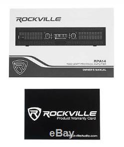 Rockville Rpa14 7000 Watt Crête / 2000w Rms 2 Canaux Amplificateur Pro / Dj Amp