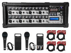Rockville Rpm85 De Powered 8-ch. Amplificateur Pro Usb Mixing, 5 Bandes Eq, Effets