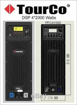 Tourco 8000 Watts 4 / Ch Plate Professional Dsp Power Amplifier Line Array